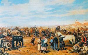 Картина П. Соколова «Конная ярмарка в Лебедяни»