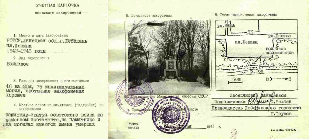 учетная карточка воинского кладбища в Лебедяни 1991 года