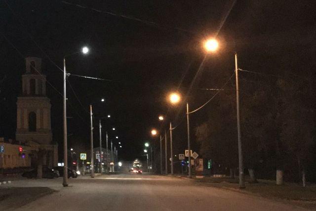 Советская улица в Лебедяни ночью