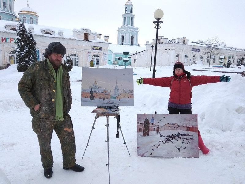 мини-пленэр молодых художников в Лебедяни (январь 2019)