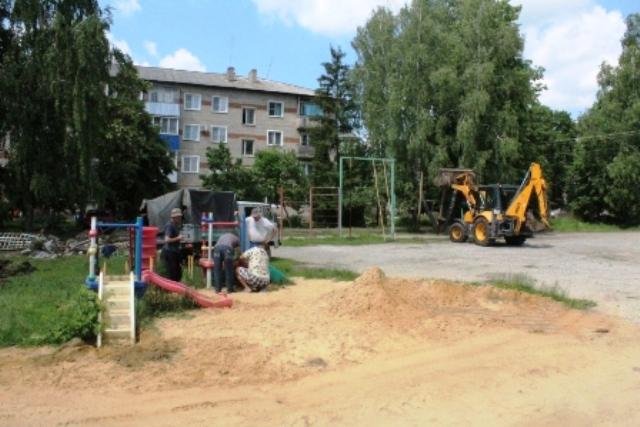 началось благоустройство двора на улице Крупской в Лебедяни