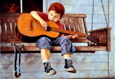 ребенок с гитарой (художник Джим Дейли)