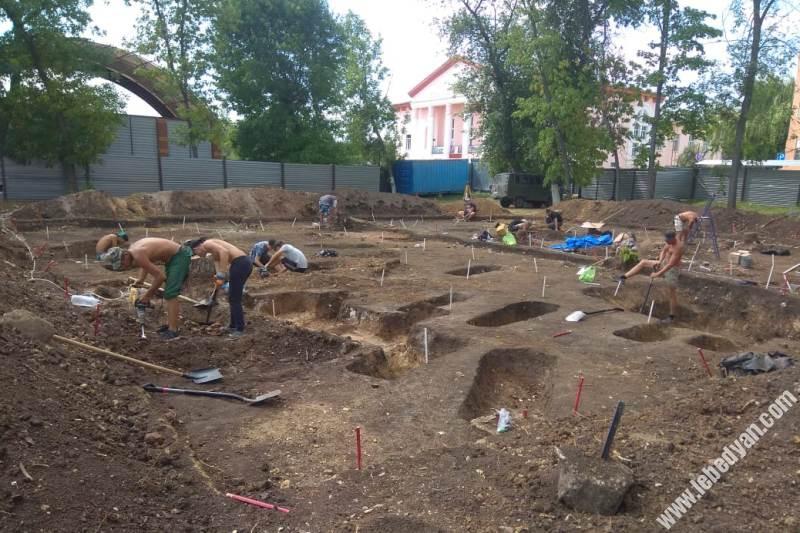 Археологические раскопки на месте строительства ЗАГС в Лебедяни