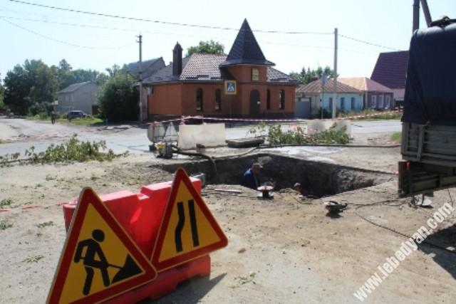Ремонт теплотрассы на улице Тургенева в Лебедяни