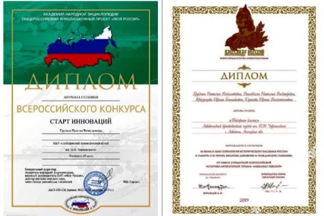 дипломы Лебедянского краеведческого музея